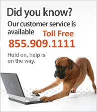 Our customer service is available Toll-Free. Call us at (855) 909-1111.